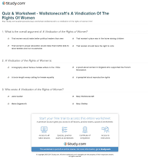 quiz worksheet wollstonecraft s a vindication of the rights of  print a vindication of the rights of women by mary wollstonecraft summary analysis worksheet