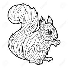 Vector Monochrome Hand Drawn Illustration Of Squirrel Coloring
