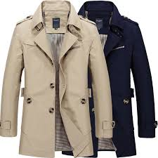 details about spring mens business casual jacket trench coats long cotton windbreaker