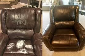 actual customer repair on bonded leather before during after