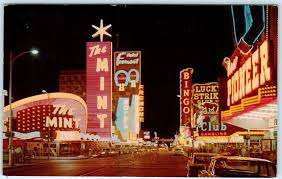las vegas nevada nv night neon fremont street the mint 1962 postcard 1 of 2 see more