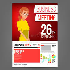 Business Meeting Poster Vector Business Woman Invitation And Date