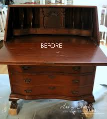 secretary desk makeover chalk paint by annie sloan before of inside