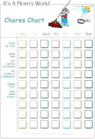 Toddler Chore Chart Template Picture Chore Chart Template