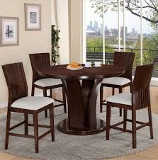 Daria Counter Height Dining Set W White Chairs By Crown Mark