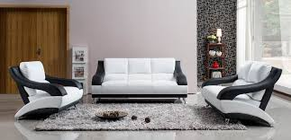 White Leather Living Room Design White Leather Sofa Set With Black Accents White Living