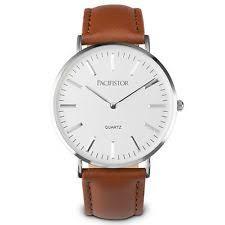 ultra slim watch pacifistor mens womens quartz wrist watch ultra thin slim fashion brown leather