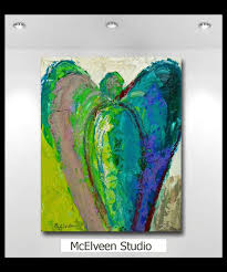 original abstract art angel painting 8 x 10 wood panel ready to hang or available