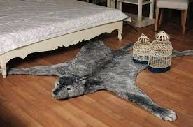 wolf skin rug fake faux fur man made large inches animal print with head