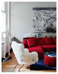 Red Sofa Design Living Room Contemporary Style Living Room With Silver Gray Walls Cherry Red