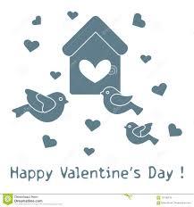 Birdhouse Stencils Designs Birds Birdhouse And Hearts Valentines Day Stock Vector