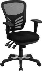 flash furniture mid back black mesh multifunction executive swivel chair with adjule arms