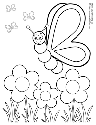 Coloring Book Pages For Kids Butterfly With Flowers Coloring Pages