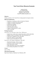 Tow Truck Driver Resume Example For Objective With Qualifications