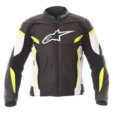 alpinestars gp plus r v2 leather jacket black white yellow flo