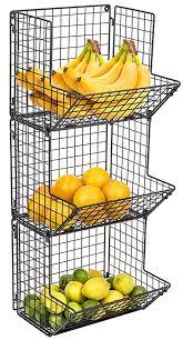 com sorbus 3 tier fruit stand wall mount kitchen storage bin multipurpose foldable organizer great for kitchen bathroom laundry organization