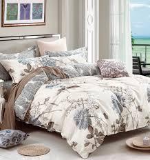 swanson beddings daisy silhouette fl print 3 piece 100 cotton bedding set duvet cover and two pillow shams king com