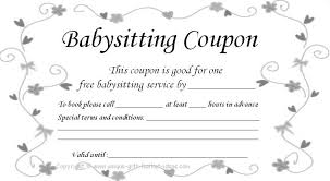 Babysitting Coupons Template Magdalene Project Org