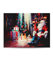 Canvas Christmas Prints With Led Lights 40x30cm Led Light Christmas Santa Claus Canvas Art Picture