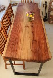 Hand Crafted Live Edge Dining Tables Redwood Featured With Steel