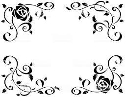 フレーム美しいバラの花のブラックのシルエット 2015年のベクター