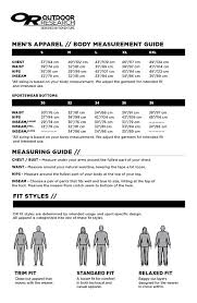 Outdoor Research Jacket Size Chart 16 Correct 5 11 Sizing Chart Jackets
