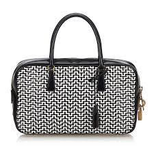 prada black with white leather woven handbag italy