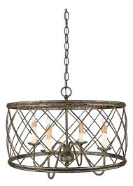 4 light chandelier in century silver leaf finish with criss cross bands