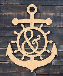 a z letter anchor wheel wooden decorative sign