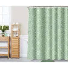 medallion tile sage 18 piece bath rug ceramic accessories and shower curtain set