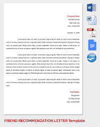 Sample Friend Recommendation Personal Letter Example To A Friend On