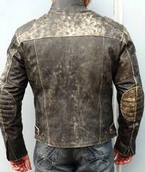 lightbox moreview genuine mens real distressed leather motorcycle vinatage mens racer jacket 2 lightbox moreview