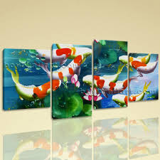 Paintings For Living Room Feng Shui Large Koi Fish Pond Feng Shui Contemporary On Canvas Wall Art