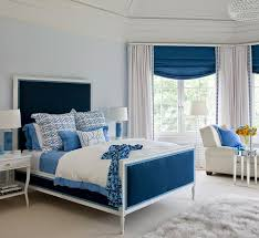 simple blue bedroom. Blue Bedroom With Monogrammed Lamps Simple E