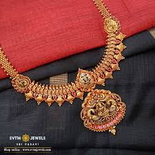Gold Long Necklace Designs In 35 Grams Buy Gold Choker Necklace Online Gold Choker Necklace Designs