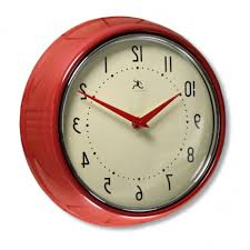red fifties style kitchen wall clock infinity wall clocks retro