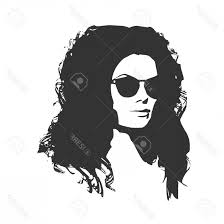 Photostock Vector Portrait Of Beautiful Woman In Black Sunglasses