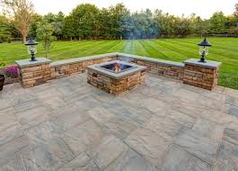 concrete patio with square fire pit. Fresh Ep Henry Fire Pit Kit Price Pavers In Chiseled Stone Patio With Custom Concrete Square