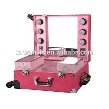 lighting rolling cosmetic case with mirrior professional makeup case with lights and clasp key
