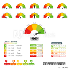 Credit Score Financial Report Rating Scale Meter Infographic