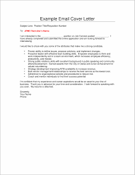 Sample Email Cover Letter With Resume Therpgmovie