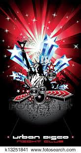 Flyers Flag Background For Disco Flyers With Usa Flag Motive Clipart