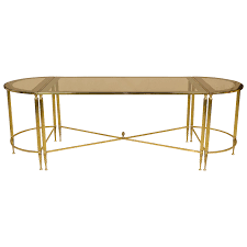 coffee table trio set brass and glass