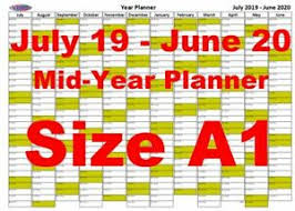 Details About A1 Olive Landscape Planner July 2019 June 2020 Mid Year Wall Chart Calendar