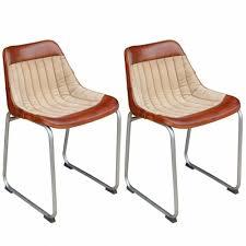 Vidaxl Esszimmerstühle 2 Stk Echtleder Und Segeltuch Braun Und Beige