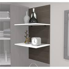 bestar cielo 2 floating shelf in bark gray and white