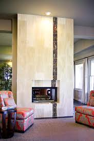 fireplace surround tile living room contemporary with wood side table modern fireplace