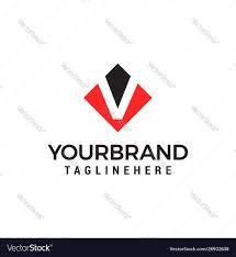 Negative Logo Design Letter V Negative Space Square Logo Design