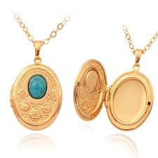 2019 vintage oval turquoise photo locket pendants 18k gold plated choker necklace charms floating lockets jewelry whole mgc p214 from mgc8whole