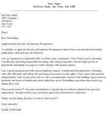 Cover Letter Addressed To Two People Corporate Receptionist Cover Letter Example Icover Org Uk